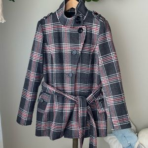Forever 21 Plaid Pea Coat Size Small